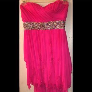 Hot pink party dress; sequins waist; sleeveless